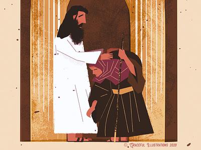 Christ - The Healer salvation free gospel woman sick healing jesus christ colour ui god texture life vector bible design illustration