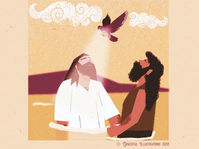 Christ - Baptism ripples clouds holy spirit dove baptist john river jordan moutain jerusalem colour animation texture jesus christ magazine vector life bible illustration