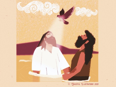 Christ - Baptism ripples clouds holy spirit dove baptist john river jordan moutain jerusalem colour animation texture jesus christ magazine vector life bible illustration