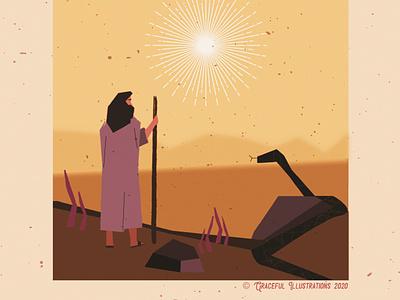Christ - In the winderness fasting heat sun snake wilderness colour god texture jesus christ magazine vector life design bible illustration