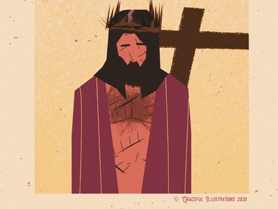 Christ - Crucified for us salvation crown suffering cross god colour texture jesus christ magazine vector life design bible illustration