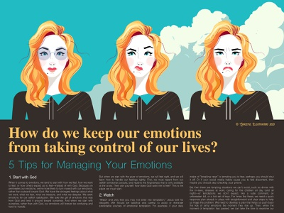 Emotions expressions character picture drawing illustration control woman girl editorial