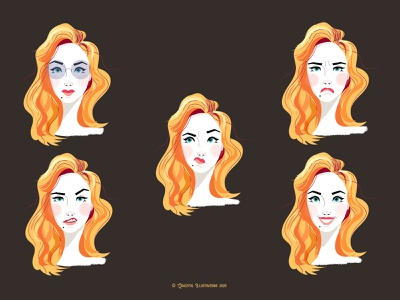 5 facial expressions of my new character woman portrait woman teeth smirk angry happy sad smile expressions character design drawing cartoon character texture vector life design illustration