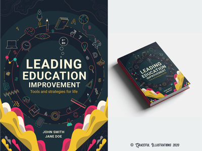 Education Book Cover abstarct improvement study icons icon ux ui strategies reading science maths book design education leading report book cover design book cover illustration