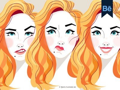Check out my Behance Project expressions features styles face hair behance drawing design illustration