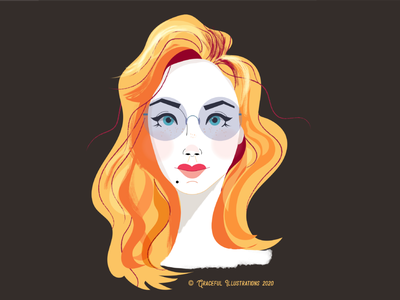 Neutral cool glasses hair features concept clean vector character illustration