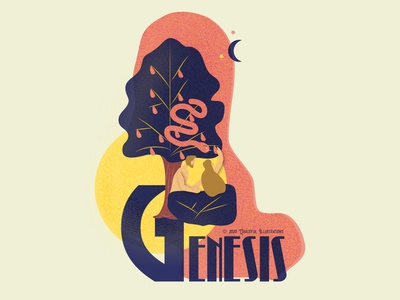 #1 Bible book - Genesis forbidden fruit woman man serpent tree genesis adam and eve colour god jesus christ texture magazine vector life bible design illustration
