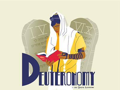 Bible book #5 - Deuteronomy faith christianity christian tefillin man young prayer deuteronomy god colour life texture jesus christ magazine vector bible design illustration
