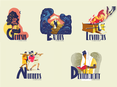 All first five Books of the Bible christianity hebrew jesus christ deuteronomy numbers leviticus exodus genesis texture magazine life vector bible design illustration