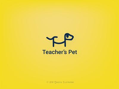 Teacher's Pet kids classroom student pet teacher branding logo illustration