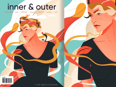 inner and outer magazine by Gracefulillustrations beauty fun experience overseas color flow line woman life travel mag vector illustration