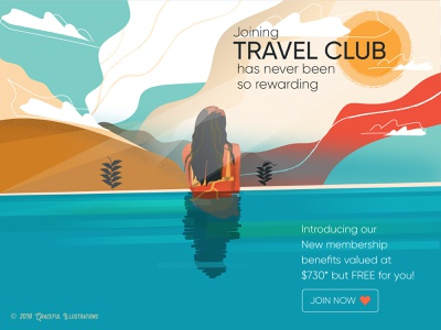 Join a travel club water travelling holiday drawing digital art art world cities woman club vector texture life illustration travel