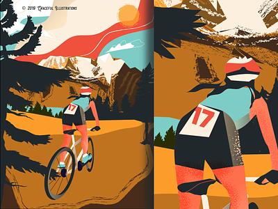 Mountain Biking - Travel series continued... enjoy living nature sun snow trees hills mountain bike man woman travel digital art drawing texture life design vector illustration