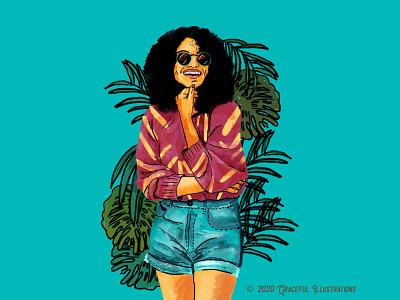 Young woman chillin' varsity uni student study summer blue chilling fun travel new style texture design girl woman wacom photoshop illustration