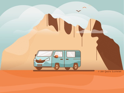 Wish you were there! Peaceful getaway... loving god staying alive covid19 birds sky travel journey trip car van mountain desert tranquility peace digital art illustration