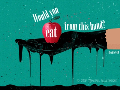 Concept Art - Filthy hand apple rags filthy dirty mire car oil oil hand from sin be saved god loves you life bible art concept design poster digital art drawing illustration