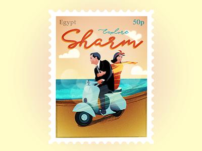 As promised - Vespa Couple - 60s stamp stamp scooter vespa sand sea dare art challenge different colour sharm el shiekh egypt 60s artdeco illustration