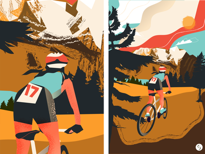 Mountain biking travel bike ride fresh win cycle bike moutain vector texture branding magazine life design illustration
