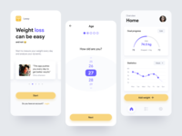 Fitness App - Weight tracker mobile visual design interaction design ux dashboard grath statistics training fitness app health sport weight fitness concept android simple ios app concept ui app