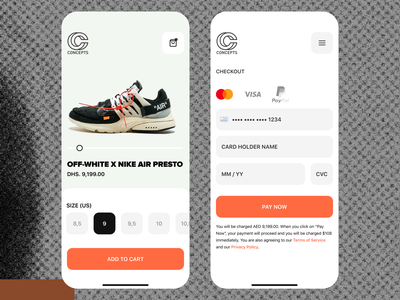 Checkout / CNCPTS -- OFF WHITE / DailyUI 002 off white nike inputs credit card payment checkout dailyui 002 dailyui visual mobile knowledge ios figma app interface design apple ui ux product