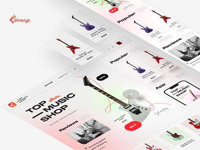 Music E-commerce and M-commerce concept design ux marketplace card interface branding product web design desktop guitar market m-commerce e-commerce music ui landing mobile app mobi