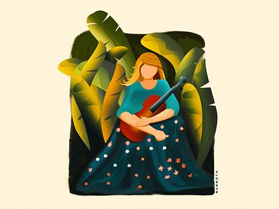 MUSIC NATURE grain women nature gradient girl vector leaves design plants illustration