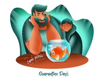 Quarantine colorful concept character design character freedom fish bowl fish covid quarantine leaves women grain girl design illustration