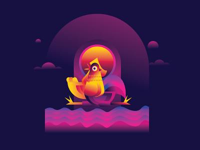 Roster & Hen design vector illustration gradient icon bird illustration bird hen roster