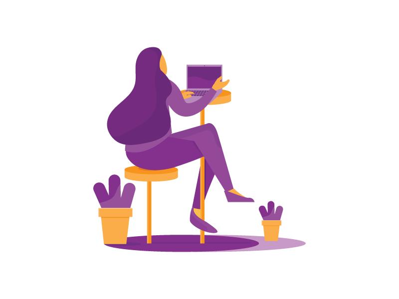 working culture work corporate for result image violet plants laptop girl vector illustration