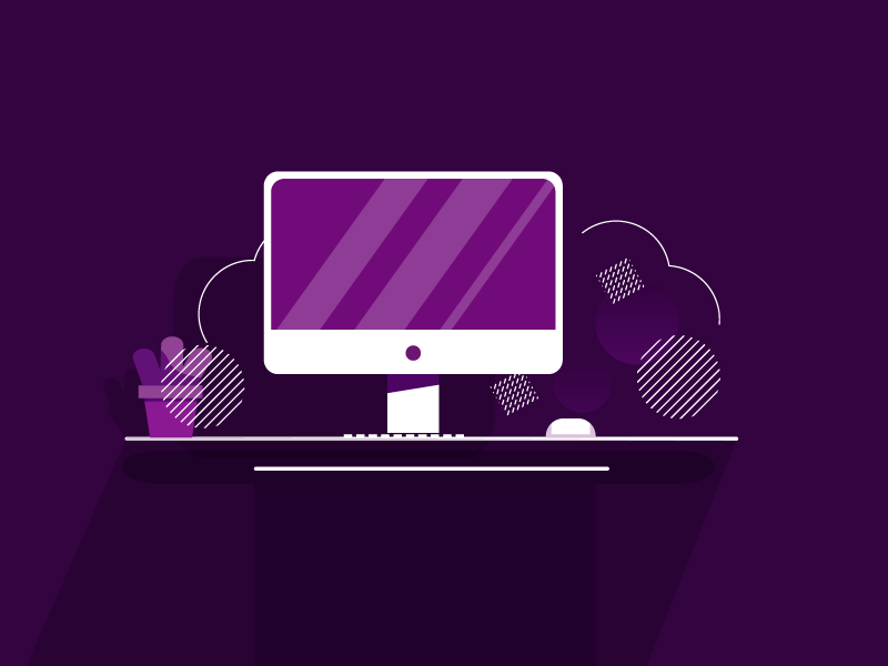 work space plant pot mac computer desktop design flat illustration