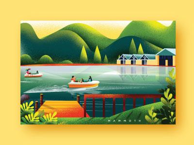 lake nature illustration landscape grain illustration art illustration design