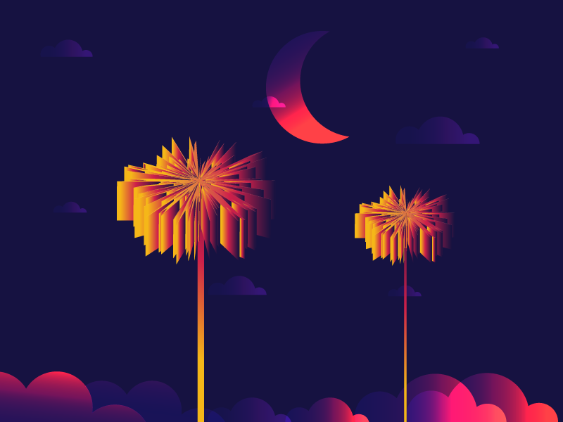 Palm Trees gradient design plants illustration