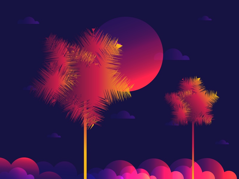 Coconut Tree design sky gradient plants leaves illustration