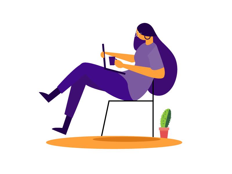 Girl With Lap Top plants violet girl boss girl illustration