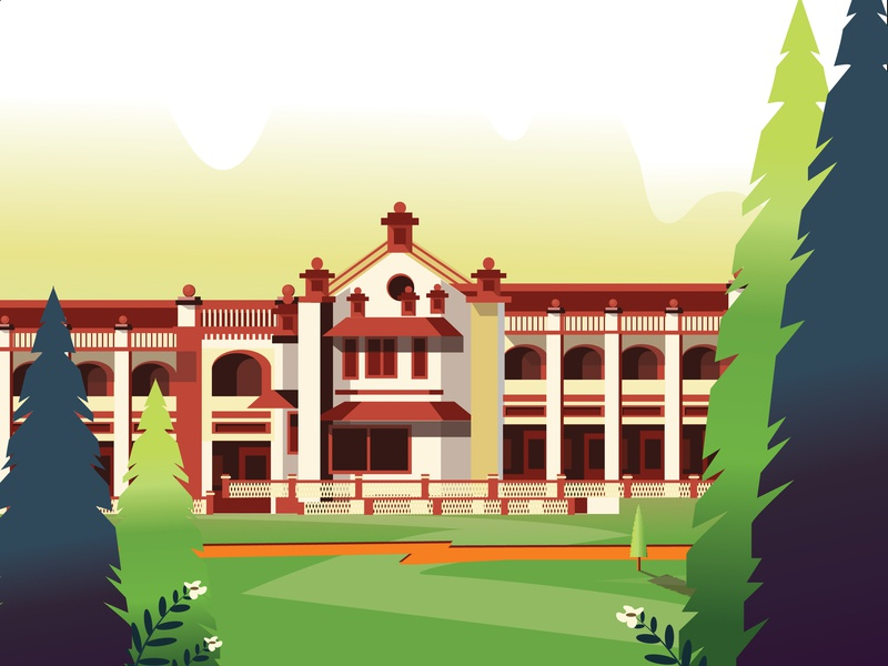 Campus sky buildings builders leaves plants vector illustration