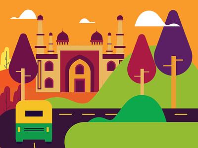 city colourfull tree vector auto illustration