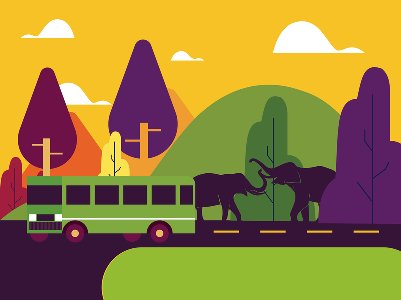 City and forest mountain trees road trip violet yellow bus and road bus vector illustrations vector art forest elephants vector sky plants illustration