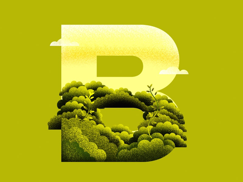 B for bushes/36daysof typo-b vector plants leaves illustration