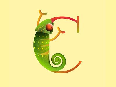 36daysof typo_2019 / C for Chameleon 36daysoftypo typogaphy typo animal design illustration
