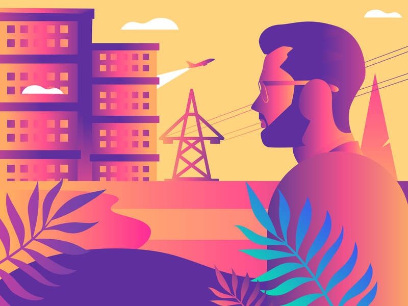 Stay Focused electricity focused men flat illustration flatdesign architecture builders cityscape city gradient leaves design vector sky plants industry indian industrial buildings illustration