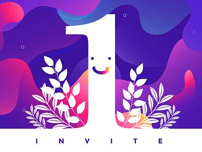 Invite gradient vector illustrators artist dribble invite invite plants illustration