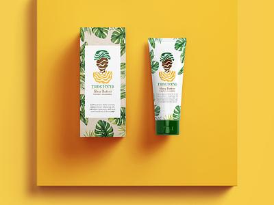 Tungteeya Shea Butter Packaging package design design feminist women fairtrade nature yellow leaf photoshop body cream body care ghana africa gender equality packagin