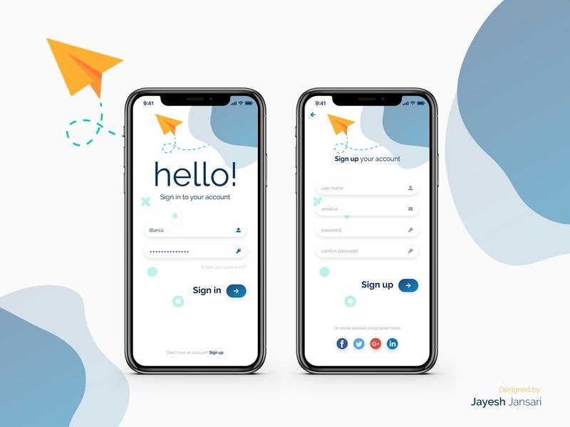 Mobile Login Mockup iphone x ios mobile app login page