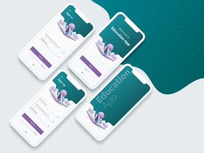 iOS Education App Mockup UI