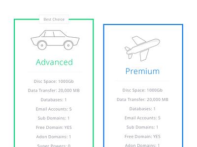 Icon Design and Price Table advanced premium car plane table price icon