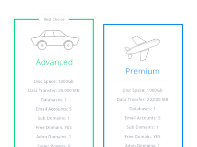 Icon Design and Price Table