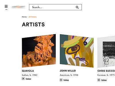 W.I.P. follow page artist list
