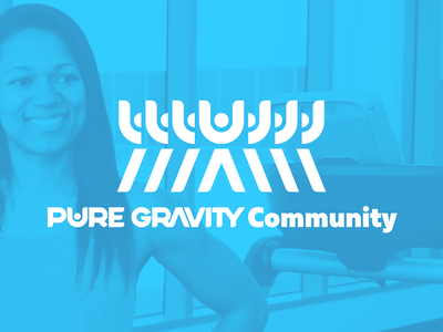 Pure Gravity Community Logo and Group Banner sketch instructor coach fitness calisthenics social media social campaign icon typography vector advertisement logotype design identity design brand logo branding brand identity