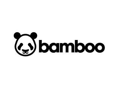 Bamboo Panda Logo black and white logomark illustration typography logotype identity design brand panda logo brand identity branding logo panda bamboo