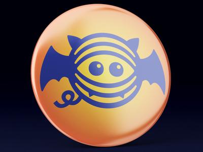 Fiberific Halloween Bat Logo on a Button crochet knitting buttons merchandise merch design badge button print design print halloween design holiday halloween bat logotype illustration yarn branding brand logo brand identity